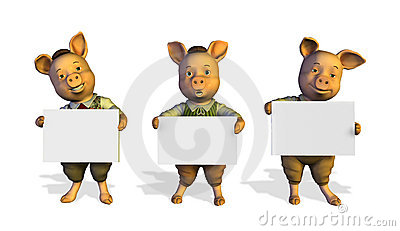 Three Little Pigs Holding Signs - with clip path