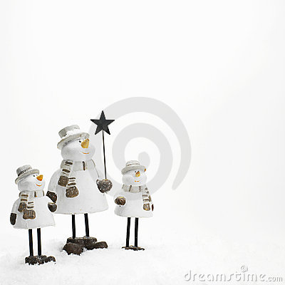 Free Three Little Snowmen Royalty Free Stock Images - 870359