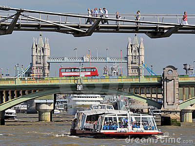 Three London Bridges Editorial Stock Photo