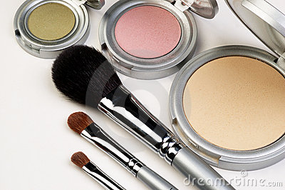 Three Makeup Brushes and Blush