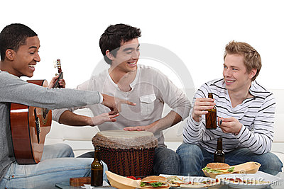 Three Male Friends Playing Instruments Stock Image - Image: 28008661
