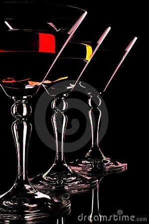 Free Three Martini Glasses At The Black Background. Royalty Free Stock Image - 19410796