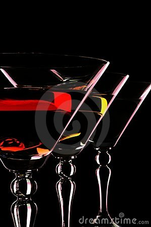 Free Three Martini Glasses At The Black Background. Stock Photos - 19410803