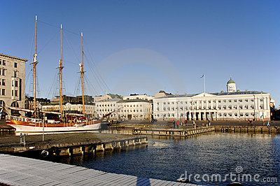 Three masted sailing boat in harbour helsinki