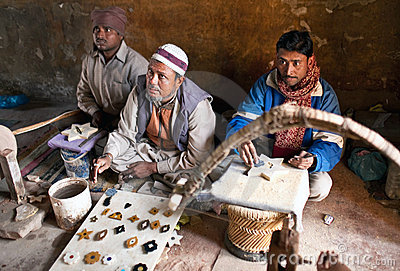 Three masters of cutting marble in Agra Editorial Photography