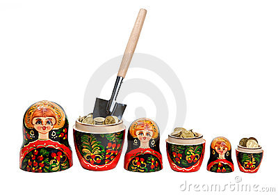 Three Matryoshkas full of coins with shovel