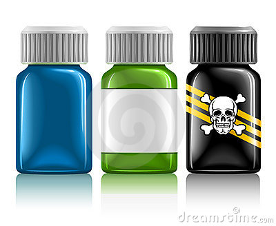 Three medical bottles with medication and poison