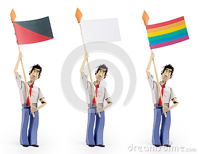 Set of men holding flag