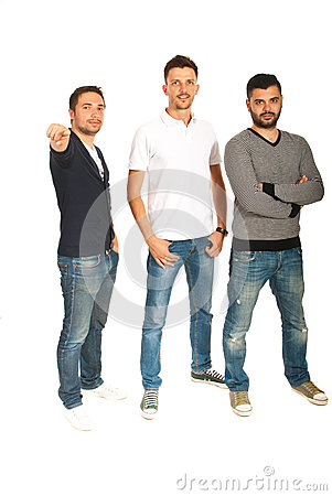 Three men pointing to you