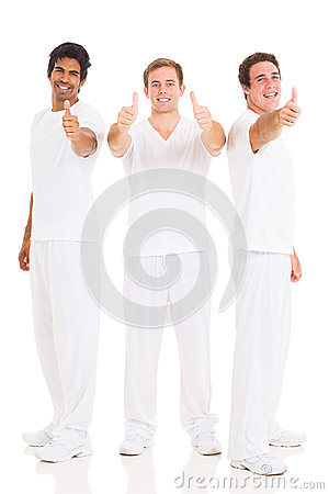 Three men thumbs up