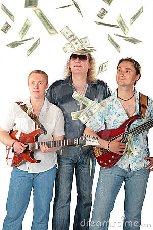 Three  men with two guitars and falling dollars. M