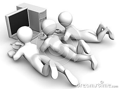 Three mens with PC