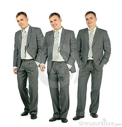 Three merry businessmen standing on white, collage