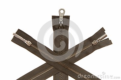 Three metal zippers