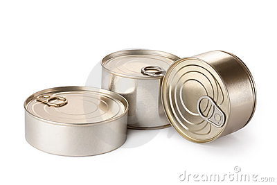 Three metallic goods can with key