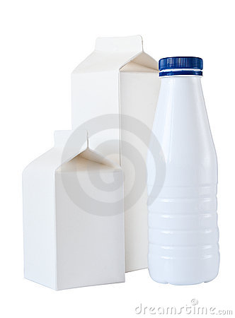 Three Milk Boxes per half liter isolated on White