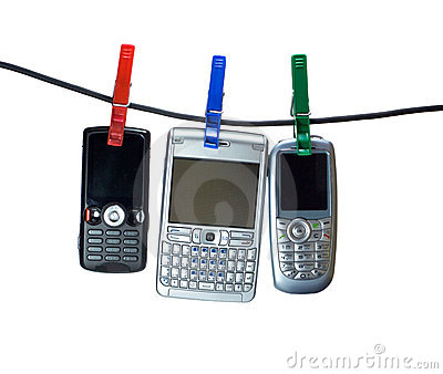 Three mobiles on clothes line