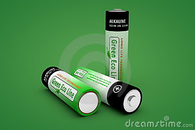 Three Modern Eco Batteries on Green