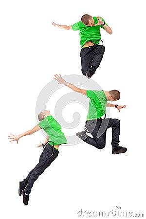 Three modern male dancers
