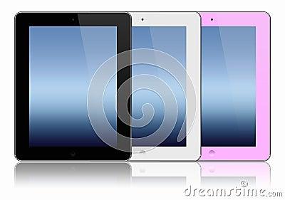 Three modern tablet pc