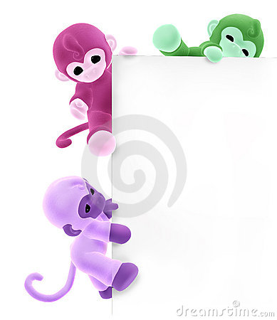 Three Monkeys on Sign Edge - with clipping path