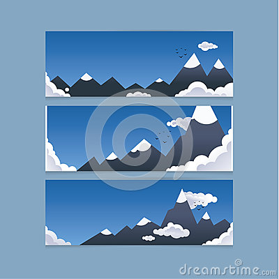 Three mountain banners for website or presentation. Concept is f