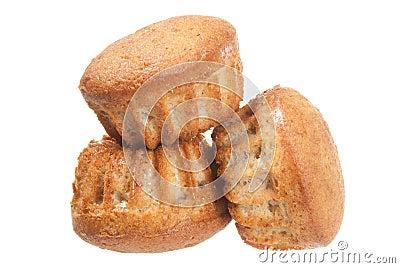 Three muffins on white