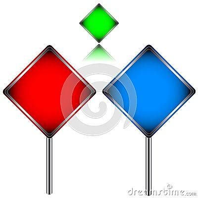 Three multi-colored signs