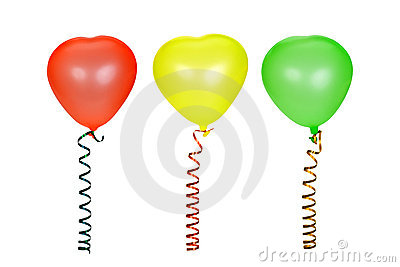 Three multi-coloured balloons