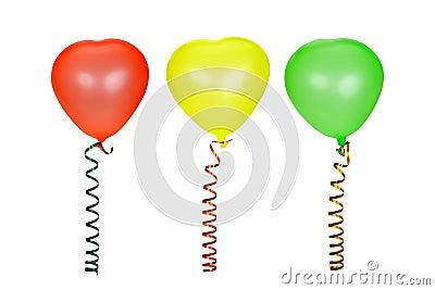 Three multi-coloured balloons