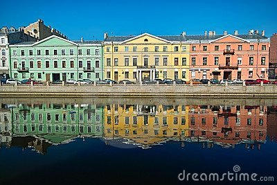Three multicolor old houses