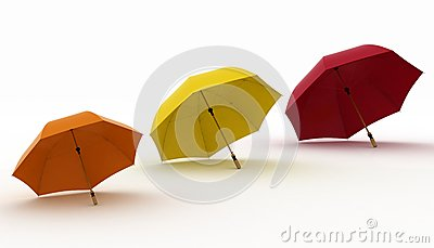 Three multicoloured umbrellas