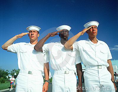 Three Multicultural Sailors Saluting Editorial Photo