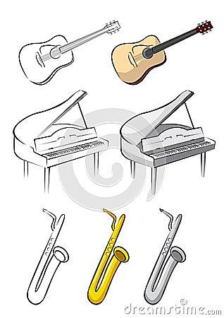 Three music instruments - guitar, piano, saxophone