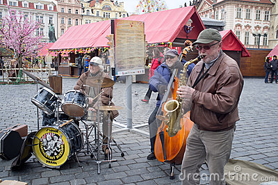 Musicians in Prague Editorial Stock Image