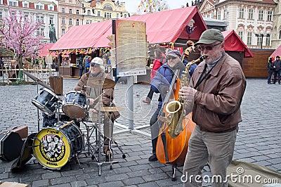 Musicians in Prague Editorial Stock Image