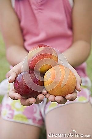 Three nectarines in child hands