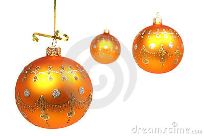 Three New Year s spheres of yellow color on white