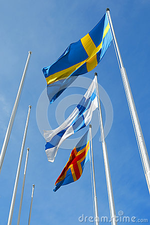 Three nordic flags