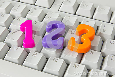 Three numbers on the computer keyboard