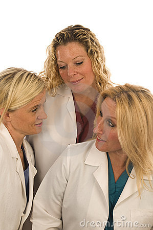 Three nurses medical females with happy expression