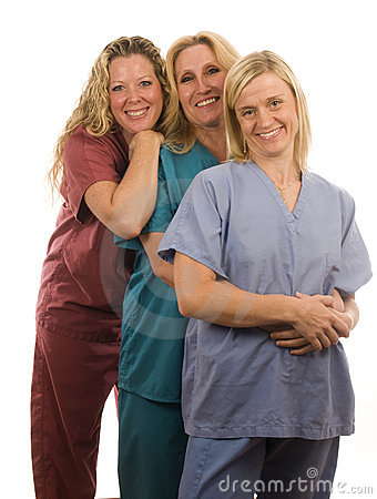 Three nurses in medical scrubs clothes