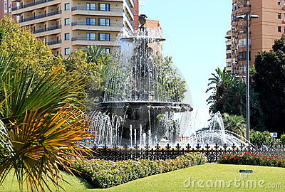 Three Nymphs Fountain in Malaga, Spain