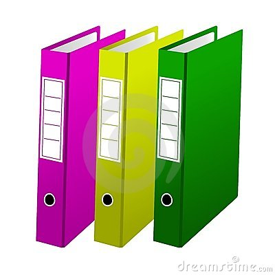 Three office folders