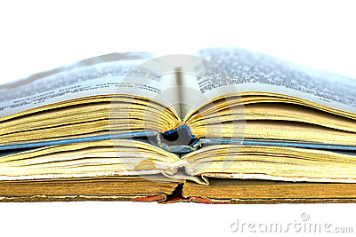 Three old open books