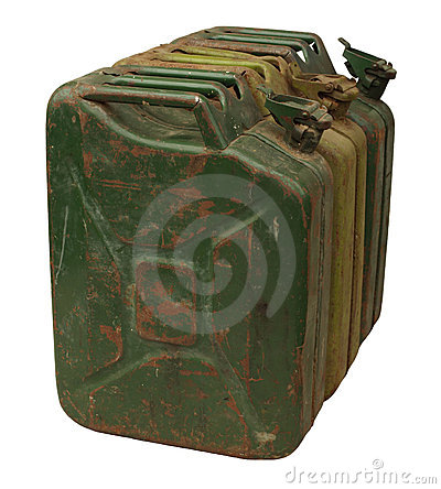 Three old rusty gasoline jerry can