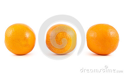 Three orange fruits isolated