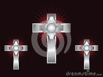 Three ornate silver crosses on a maroon background