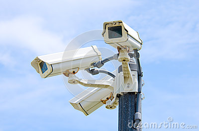 Three outdoor security cameras