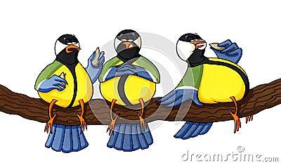 Three overweight birds eating seeds